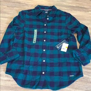 🆕 NWT Polo Navy and Green Flannel Shirt